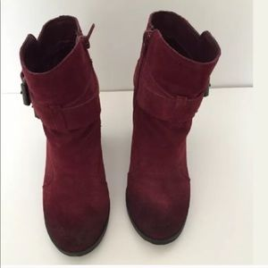 ShoeMint Burgundy Suede Ankle Boots 6